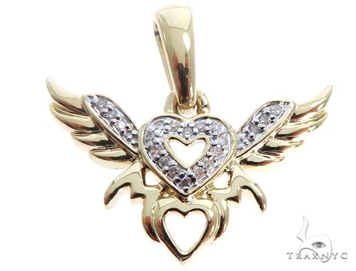 10K Yellow Gold Heart Wings Mom Pendant 64759 Stone