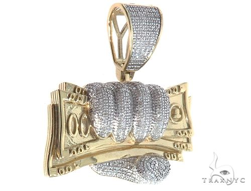 10kt Yellow Gold Diamond Cash Money Pendant 64760 Metal