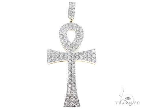 10k Yellow Gold Diamond Ankh Pendant 64761 Diamond