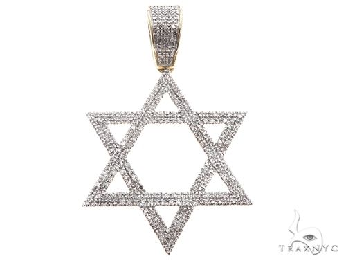 10K Yellow Gold Diamond Star of David Pendant 64763 Metal