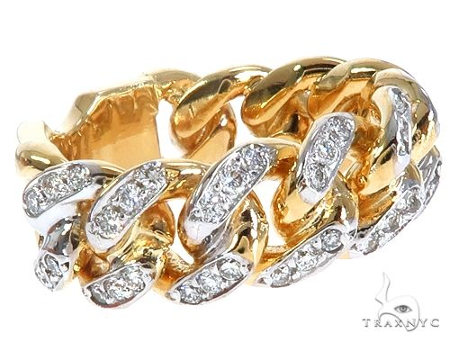 14k Yellow Gold Diamond Miami Cuban Ring 64776 Stone