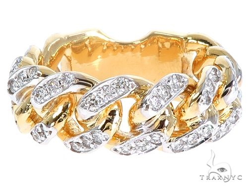14k Yellow Gold Diamond Miami Cuban Ring 64776 Stone