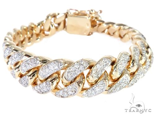 14K Yellow Gold Diamond Miami Cuban Bracelet 64779 Diamond