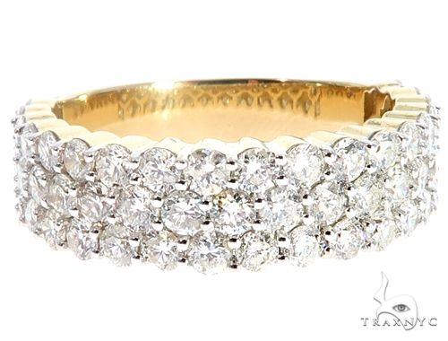 10K Yellow Gold Three Row Diamond Ring 64780 Stone