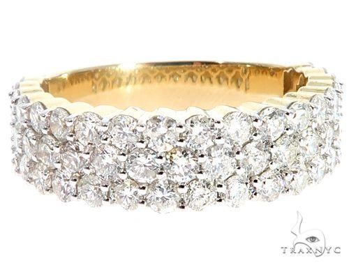 10K Yellow Gold Three Row Diamond Ring 64780 Stone