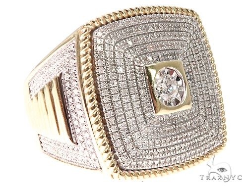10K Yellow Gold Men's Diamond Ring 64784 Stone