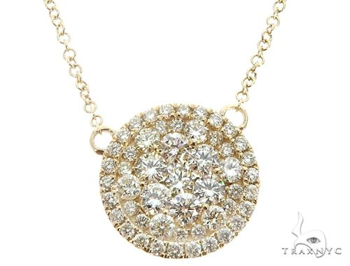14K Yellow Gold Diamond Cluster Pendant 64787 Diamond