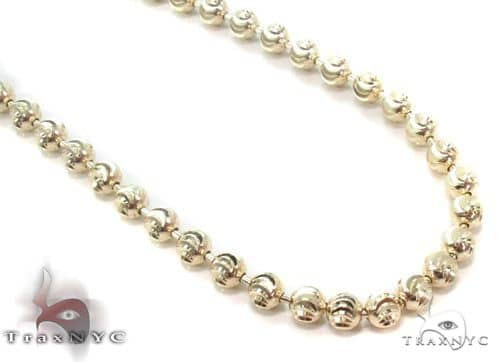 14K Yellow Gold Moon Cut Chain 22 Inches 4mm 26.7 Grams 64804 Gold