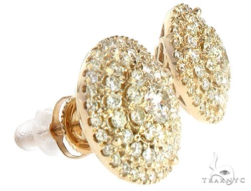 14k YG Diamond Cluster Stud Earrings 64837 Stone