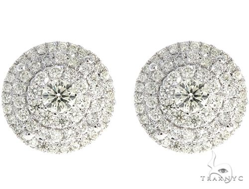 14k WG Diamond Cluster Stud Earrings 64838 Stone
