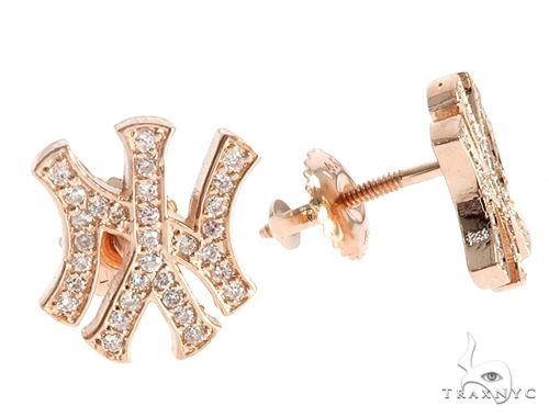 14K Rose Gold Yankee Diamond Stud Earrings 64846 Stone