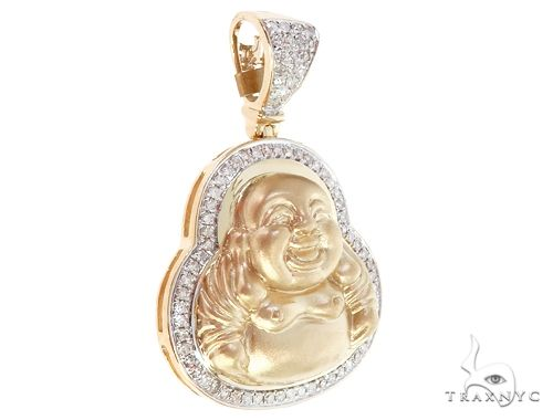 10K Yellow Gold Diamond Buddha Charm 64852 Stone