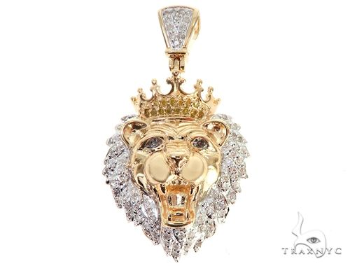 Micro Pave Diamond Small Lion Head Pendant 64853 Metal