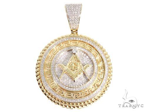 Micro Pave Diamond Freemason Pendant 64859 Metal