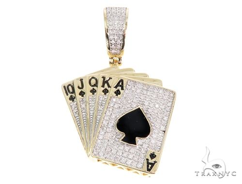 Micro Pave Diamond Poker Pendant 64861 Metal