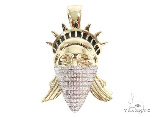 Micro Pave Diamond Lady Liberty Pendant 64862 Metal