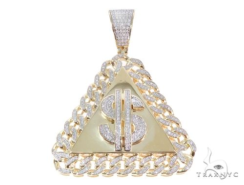 Micro Pave Diamond Dollar Sign Pendant 64864 Metal