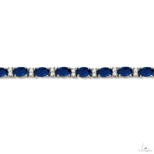 Diamond and Oval Cut Sapphire Tennis Bracelet 14k White Gold Gemstone & Pearl