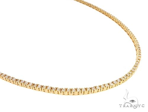 10k YG 3mm Diamond Tennis Necklace 64880 Diamond