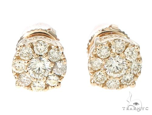 14k Gold Diamond Cluster Stud Earrings 64902 Stone