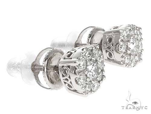 14k White Gold Diamond Cluster Stud Earrings 64903 Stone