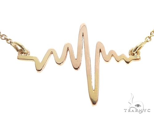 Mini Heartbeat Pendant Necklace in 14k Yellow Gold 64904 Metal