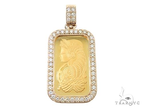 14k Yellow Gold 1 Ounce 1oz Pamp Bar Diamond Pendant 64917 Metal