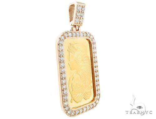 14k Yellow Gold 1 Ounce Bar Diamond Pendant 64917 Metal