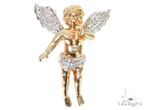 10k Yellow Gold Diamond Angel Pendant 64905 Metal