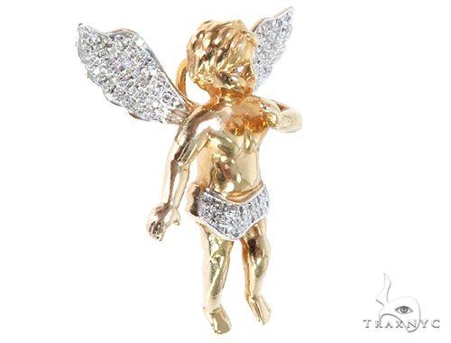 10k Yellow Gold Diamond Angel Pendant 64905 Metal