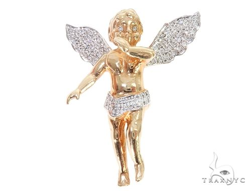 10k Yellow Gold Diamond Angel Pendant 64906 Metal