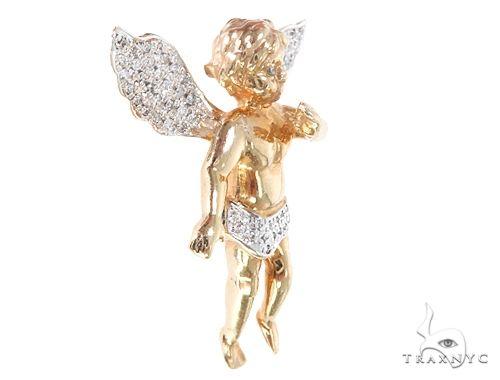 10k Yellow Gold Diamond Angel Pendant 64906 Metal