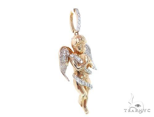 10k Yellow Gold Diamond Angel Pendant 64908 Metal