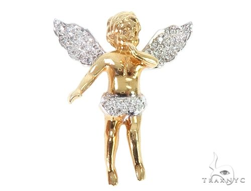 10k Yellow Gold Diamond Angel Pendant 64907 Metal