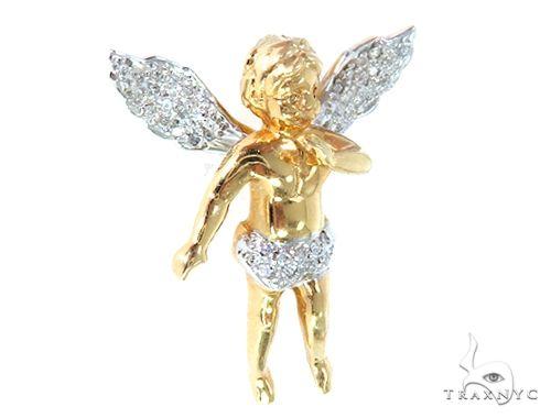 10k Yellow Gold Diamond Angel Pendant 64907 Metal