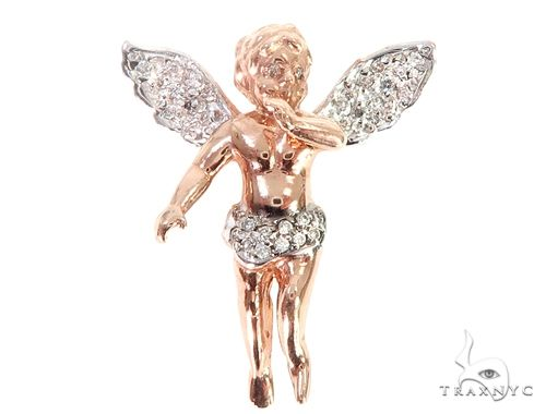 10k Rose Gold Diamond Angel Pendant 64911 Metal