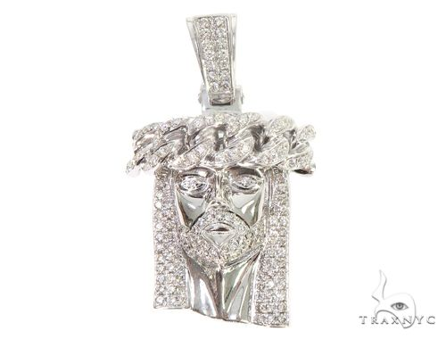 14k White Gold Diamond Cuban Link Crown Jesus Pendant 64916 Metal