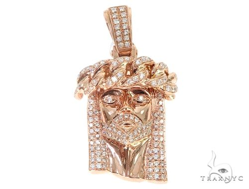 14k Rose Gold Diamond Cuban Link Crown Jesus Pendant 64915 Metal