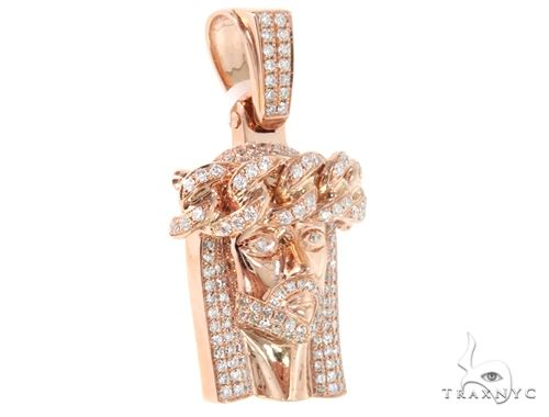 14k Rose Gold Diamond Cuban Link Crown Jesus Pendant 64915 Metal