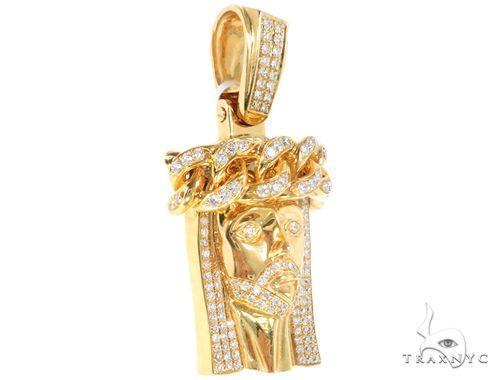 14k Yellow Gold Diamond Cuban Link Crown Jesus Pendant 64914 Metal