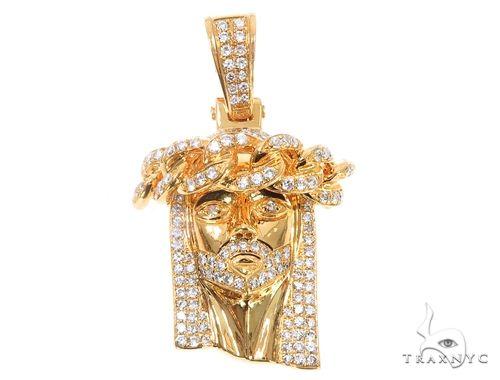 14k Yellow Gold Diamond Cuban Link Crown Jesus Pendant 64912 Metal