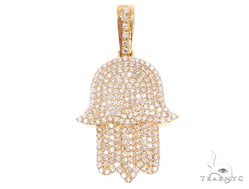 14k Yellow Gold Diamond Hamsa Pendant 64922 Metal