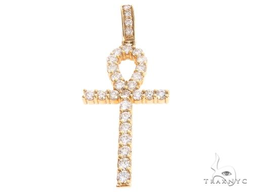 14k Yellow Gold Diamond Ankh Pendant 64923 Metal