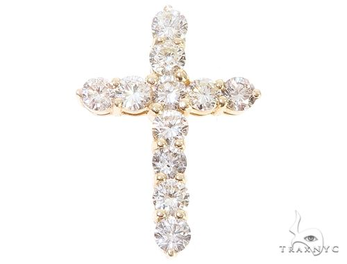 14k Yellow Gold Diamond Cross Pendant 64924 Metal