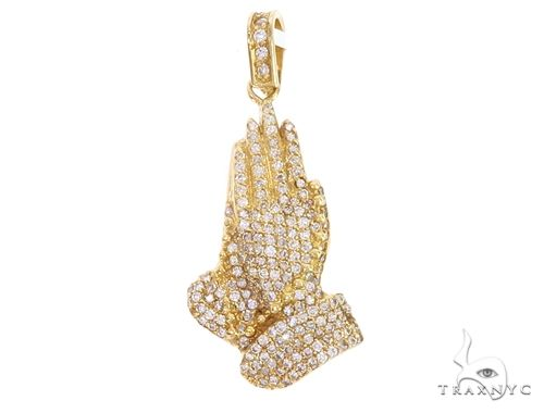 14k Yellow Gold Diamond Prayer Hands Pendant 64925 Metal