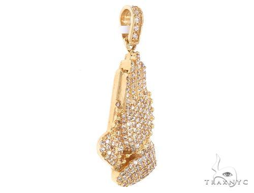 14k Yellow Gold Diamond Prayer Hands Pendant 64925 Metal