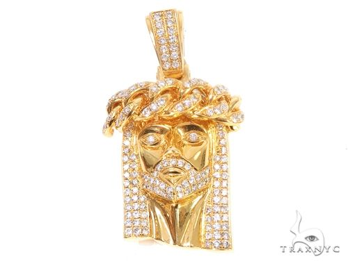14k Yellow Gold Diamond Cuban Link Crown Jesus Pendant 64913 Metal