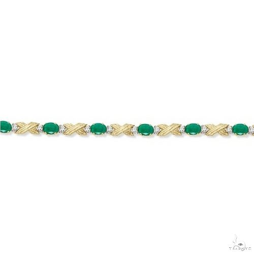 Emerald and Diamond XOXO Link Bracelet in 14k Yellow Gold Gemstone & Pearl