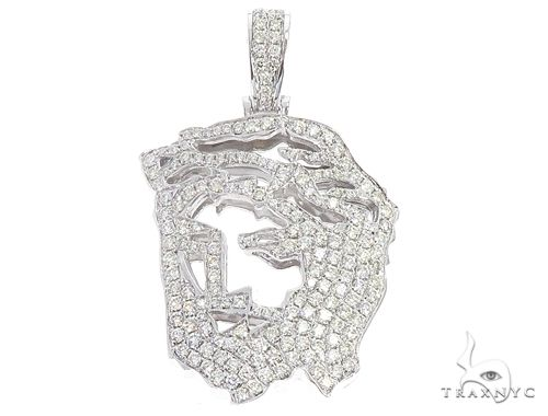 14k White Gold Diamond Jesus Pendant 64947 Metal