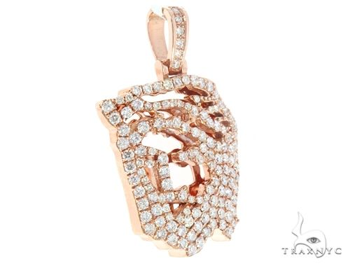 14k Rose Gold Diamond Jesus Pendant 64948 Metal